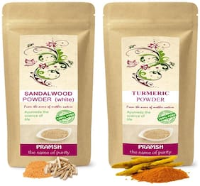 Pramsh Traders Premium Quality White Sandalwood 100g & Kasturi Turmeric 300g Powder Combo
