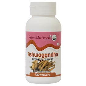Prima Medicare 100% Natural Ashwagandha Extract Tablets - for Lower Blood Sugar;Boost Energy Level and help fight symptoms of anxiety and Depression - 120 Tablets