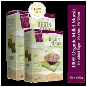 Pristine Beginnings Organic Millet Muesli 300g (Get 150g Free)