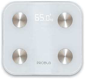 Probus Bluetooth Digital Fitness Body Composition Monitor Electronic Weight BMI Measuring Scale Machine With Body Fat Analyzer (White)