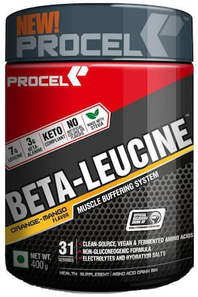 PROCEL BETA-LEUCINE Keto BCAA Powder with Leucine & Beta-alanine - 400g (Orange-Mango)