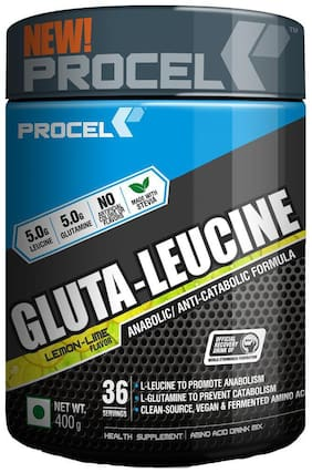 PROCEL GLUTA-LEUCINE Glutamine+Leucine BCAA blend 36 servings - 400g (Lemon-Lime)