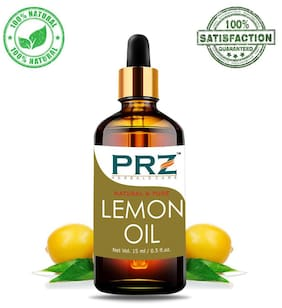 PRZ Lemon Essential Oil (15 ml) - Pure Natural & Therapeutic Grade Oil For Aromatherapy Body Massage, Skin Care & Hair Care