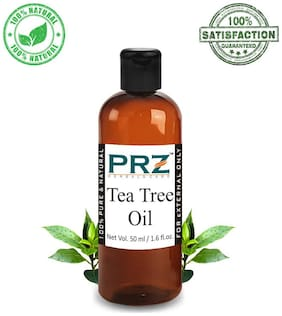 PRZ Tea Tree Essential Oil (50 ml) - Pure Natural & Therapeutic Grade Oil For Aromatherapy Body Massage, Skin Care & Hair Care