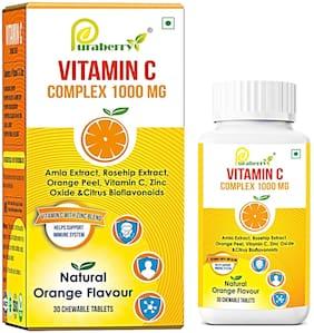 Puraberry Chewable Vitamin C Complex 1000mg with Zinc - Amla - Rosehip - Orange Peel & Bioflavonoids - Antioxidants - Immunity - Skin Health for Men & Women - Natural Orange Flavour - 30 Tablets)