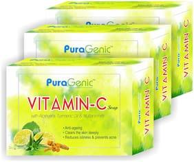 PuraGenic Vitamin C Soap with Aloe vera, Turmeric and Multani Mitti, 75g - Pack of 3