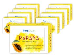 Puragenic Papaya Skin Whitening Soap  75g - Pack of 9