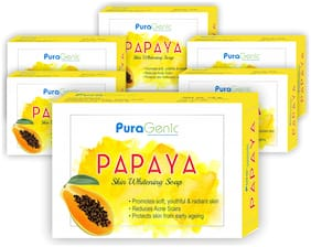 Puragenic Papaya Skin Whitening Soap  75g - Pack of 6