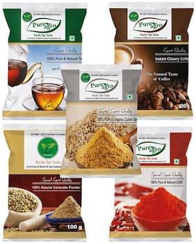 Pure Agro Kitchen Masala Pack of 5 (Green Tea, Cumin Seeds, Coffee, chilli Powder, coriander powder - 100 Gram Each )