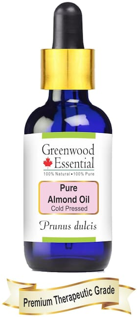 Greenwood Essential Pure Almond Oil (Prunus dulcis) with Glass Dropper 100% Natural Therapeutic Grade Cold Pressed 50ml