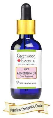 Greenwood Essential Pure Apricot Kernel Oil (Prunus armeniaca) with Glass Dropper 100% Natural Therapeutic Grade Cold Pressed 30ml