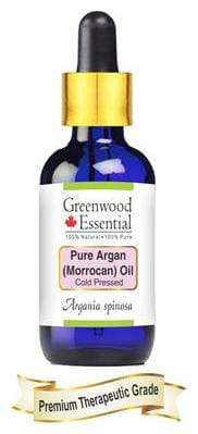Greenwood Essential Pure Argan (Moroccan) Oil (Argania spinosa) with Glass Dropper 100% Natural Therapeutic Grade Cold Pressed 50ml