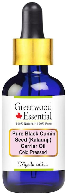 Greenwood Essential Pure Black Seed (Kalaunji) Carrier Oil (Nigella sativa) with Glass Dropper 100% Natural Therapeutic Grade Cold Pressed 50ml