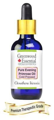 Greenwood Essential Pure Evening Primrose Oil (Oenothera biennis) with Glass Dropper 100% Natural Therapeutic Grade Cold Pressed 30ml