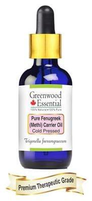 Greenwood Essential Pure Fenugreek (Methi) Carrier Oil (Trigonella foenumgraecum) with Glass Dropper 100% Natural Therapeutic Grade Cold Pressed 100ml