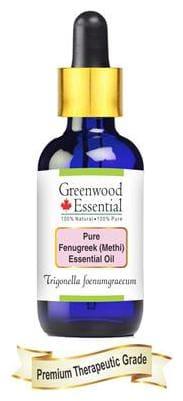 Greenwood Essential Pure Fenugreek (Methi) Essential Oil (Trigonella foenumgraecum) with Glass Dropper 100% Natural Therapeutic Grade Steam Distilled 10ml