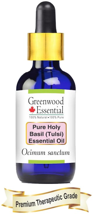 Greenwood Essential Pure Holy Basil (Tulsi) Essential Oil (Ocimum sanctum) with Glass Dropper 100% Natural Therapeutic Grade Steam Distilled 10ml