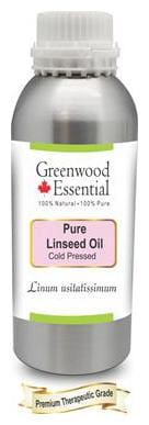Greenwood Essential Pure Linseed Oil (Linum usitatissimum) 100% Natural Therapeutic Grade Cold Pressed 630ml