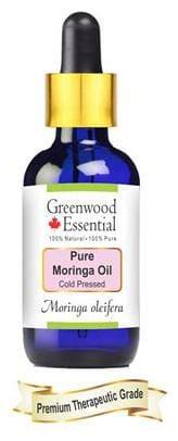 Greenwood Essential Pure Moringa Oil (Moringa oleifera) with Glass Dropper 100% Natural Therapeutic Grade Cold Pressed 30ml