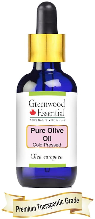 Greenwood Essential Pure Olive Oil (Olea europaea) with Glass Droppper 100% Natural Therapeutic Grade Cold Pressed 50ml