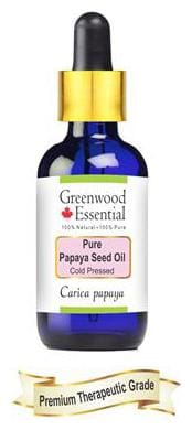 Greenwood Essential Pure Papaya seed Oil (Carica papaya) with Glass Dropper 100% Natural Therapeutic Grade Cold Pressed 50ml