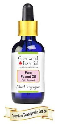 Greenwood Essential Pure Peanut Oil (Arachis hypogeae) with Glass Dropper 100% Natural Therapeutic Grade Cold Pressed 100ml