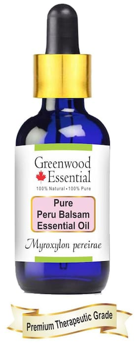 Greenwood Essential Pure Peru Balsam Essential Oil (Myroxylon pereirae) with Glass Dropper 100% Natural Therapeutic Grade Steam Distilled 30ml