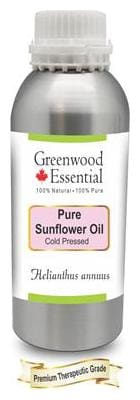 Greenwood Essential Pure Sunflower Oil (Helianthus annuus) 100% Natural Therapeutic Grade Cold Pressed 630ml