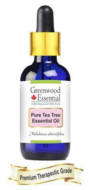 Greenwood Essential Pure Tea Tree Essential Oil (Melaleuca alternifolia) with Glass Dropper 100% Natural Therapeutic Grade Steam Distilled 15ml