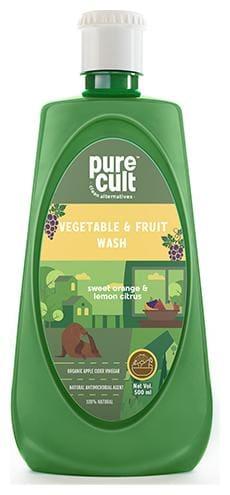 PureCult Vegetable and Fruit cleaner 100% naturally derived Organic Apple Cider Vinegar and Sweet Orange and Lemon Essential Oils 500ml