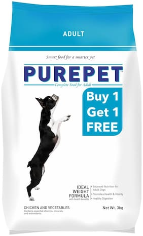 Purepet Chicken & Veg Adult Dog Food 3 kg (Buy One Get One Free)