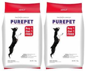 Purepet Dog Food - Meat & Rice, Adult Dog 1.1 kg (Pack of 2)