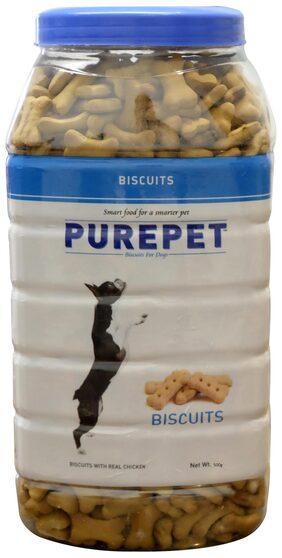 Purepet Dog Treats Real Chicken Biscuit Milk Flavour  Jar 500g