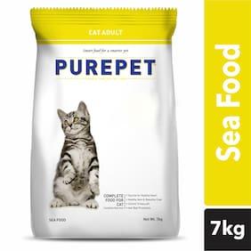 Purepet Adult(+1 year) Dry Cat Food, Sea Food, 7 kg
