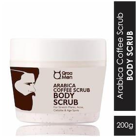 QRAA Men Arabica Coffee Body Scrub for Cellulite and Ageing Skin, Exfoliates & Polishes 200 g