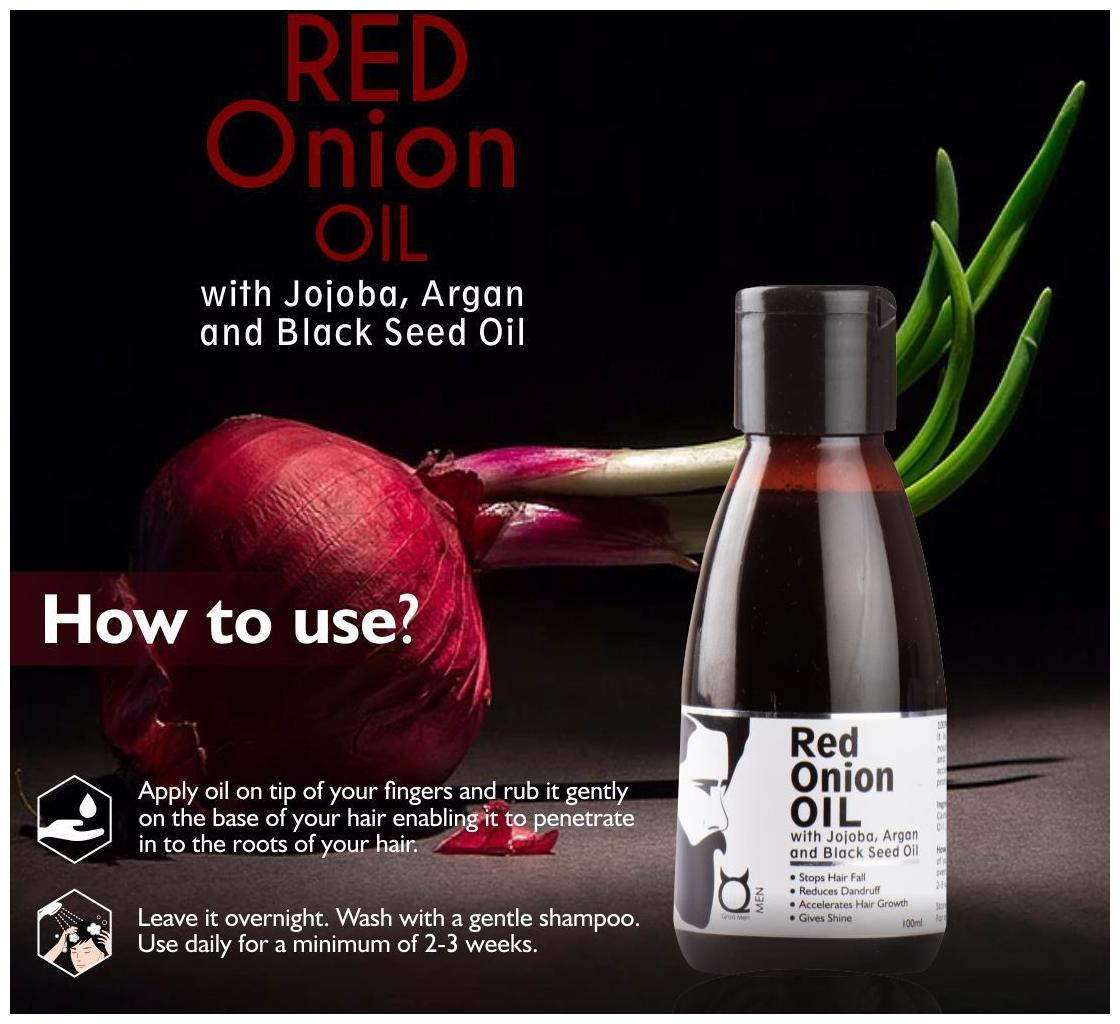 Qraa Red Onion Oil-with jojoba,Argan & Black seed oil 100ml (Pack of 1)