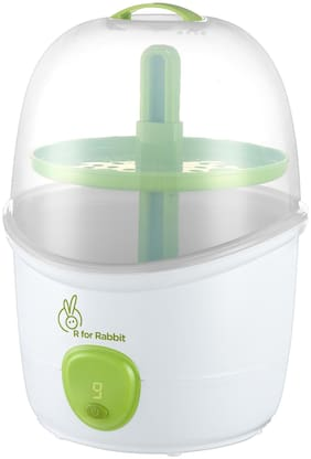 R for Rabbit Peter Fighter Plus - Electric Baby Bottle 2 in 1 Steam Sterilizer for Infants (Multi- 6 Bottles Container Auto Shut Down 0% BPA Free)