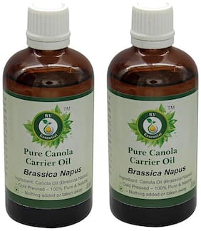R V Essential Pure Canola Carrier Oil (100ml+100ml) Pack of Two- Brassica Napus (100% Pure and Natural Cold Pressed)