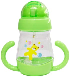 Rachna's Spill-Proof Unbreakable Baby / Infants / Kids Transparent Gravity Straw Sipper Cup Water Bottle with Handles - 2205 - Green - 350 ml