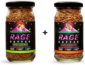 Rage Coffee Combo Pack of 2 - Irish Hazelnut & Dark Chocolate Flavoured Coffee 50 Gms Each