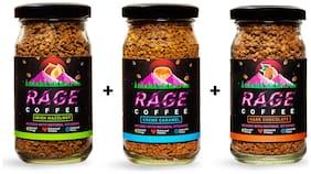 Rage Coffee Combo Pack of 3 - Irish Hazelnut & Dark Chocolate & Creme Caramel Flavoured Coffee 50 Gms Each