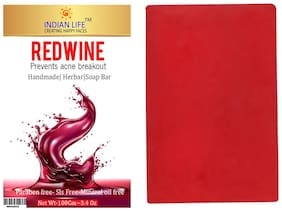 INDIAN LIFE Red Wine Eriched Handmade Soap|  Anti Ageing-Paraben Free| SLS Free