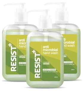 Resist+ Antimicrobial Hand Wash with Pump Dispenser, Contains Vitamin E & B5, Pack of 3 - 750ml