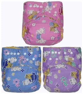 Reusable Washable Cloth Diaper (0-3 Yrs)  Set of 3 Diapers (Purple, Blue, Pink) with 3 washable Insert