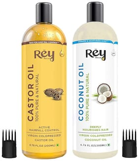 Rey Naturals Cold-Pressed,100% Pure Castor Oil & Coconut Oil - Moisturizing & Healing,For Skin,Hair Care,Eyelashes (200 ml + 200 ml) Pack of 2