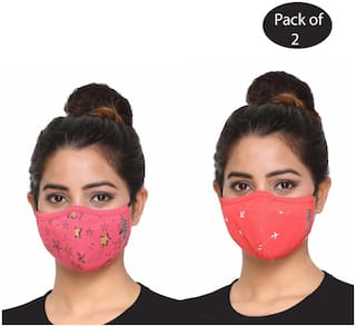 RF Raves 3-Layer Women Fashionable Reuable Printed Face Mask