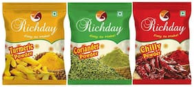 Richday Spices Combo - Chilli, Turmeric, Coriander Powder (500g Each)