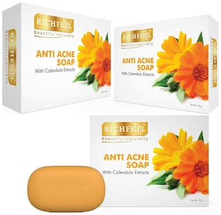 Richfeel Calendula Acne Soap 75 g (Pack of 3)