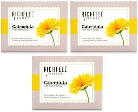Richfeel Calendula Acne Soap 75 g (Pack of 3)