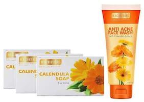 Richfeel Calendula Anti Ance Soap Pack of Three Soaps + 1 Calendula Anti Acne Face Wash Free